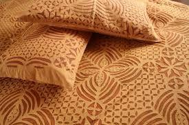 Sepia Colored beautiful Reverse #Applique #Bedcover + #Pillow cover www.graminsansthan.com +91 9413308843