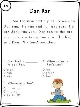 Reading Passages - Fluency and Comprehension - Short Vowel Stories