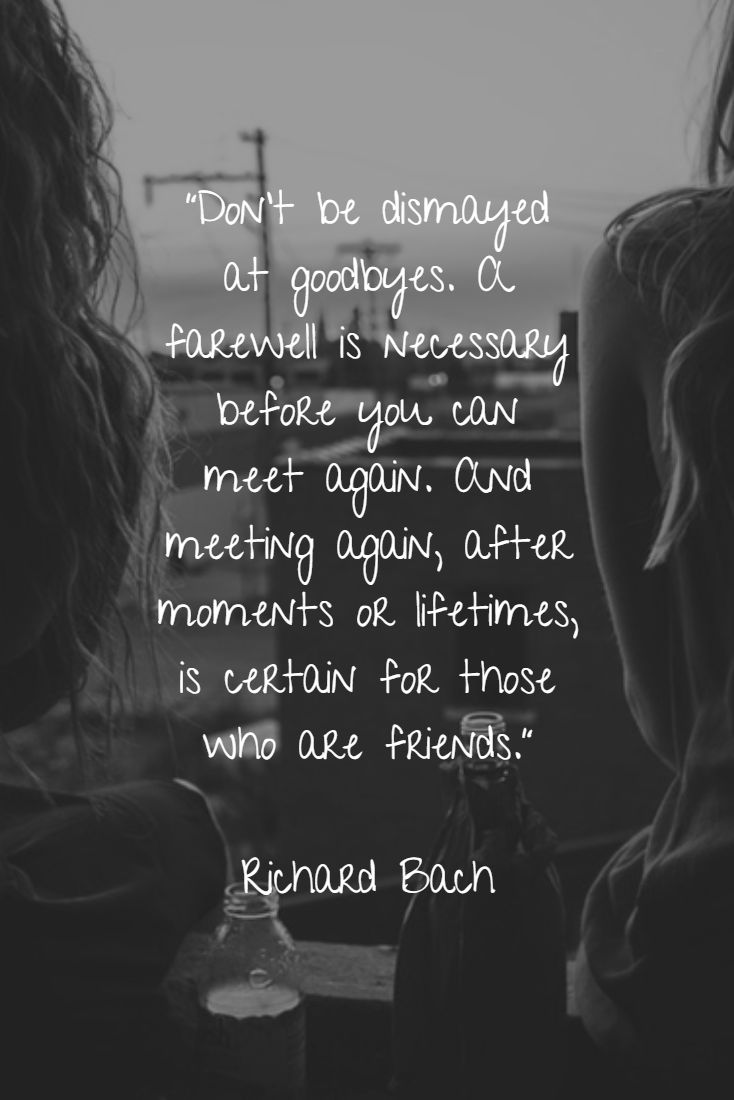 """Don't be dismayed at goodbyes. A farewell is necessary before you can meet again. And meeting again, after moments or lifetimes, is certain for those who are friends."" - Richard Bach"