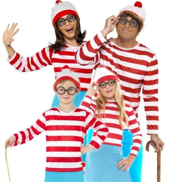 Mens Ladies Boys Girls Childrens Wheres Wally Fancy Dress Outfit Hat Glasses | eBay