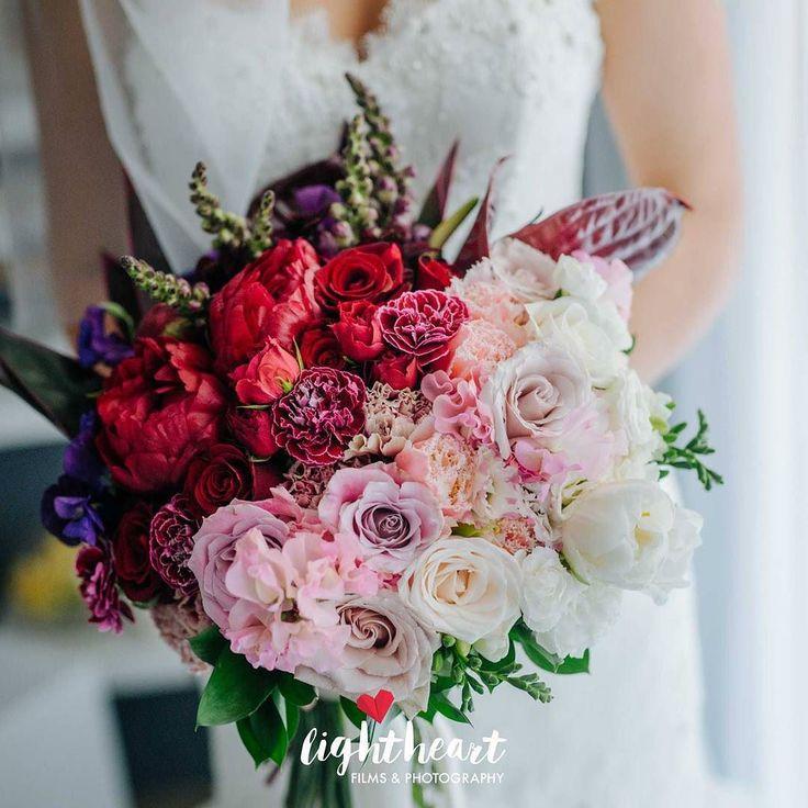 Ombre wedding bouquet. Peony. Cosmos. Tulips. Roses. Freesia. Sweet Pea.