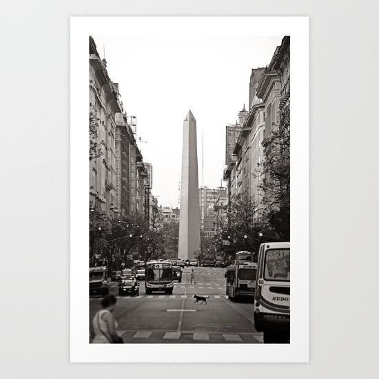 """Street view of the obelisk from """"Casa Rosada"""".<br/> Buenos Aires, capital of Argentina."""
