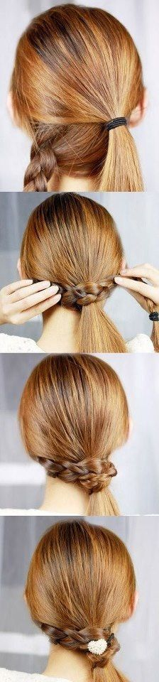 Braid wrapped around low ponytail with cute hair tie