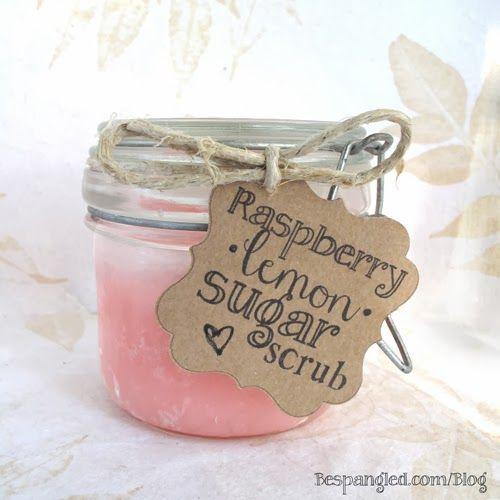 DIY Raspberry Lemon Body Scrub in Etched Glass Jars- Recipe + Tutorial