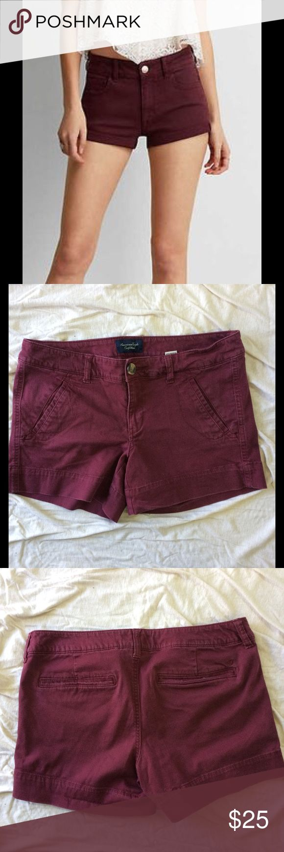 American Eagle burgundy shorts In perfect condition. They are a size 8. Let me know if you have any questions. Model is for cover shot only. I am a fast shipper! Offers welcomed :) a American Eagle Outfitters Shorts Jean Shorts