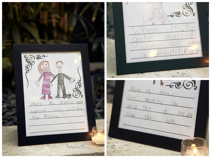 #Teachers this one is for you!  This bride's students described what would happen during the wedding day of their teacher and then used them as centerpieces.