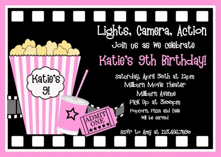 53 best Movie Invitations images on Pinterest Birthday - free template for birthday invitation