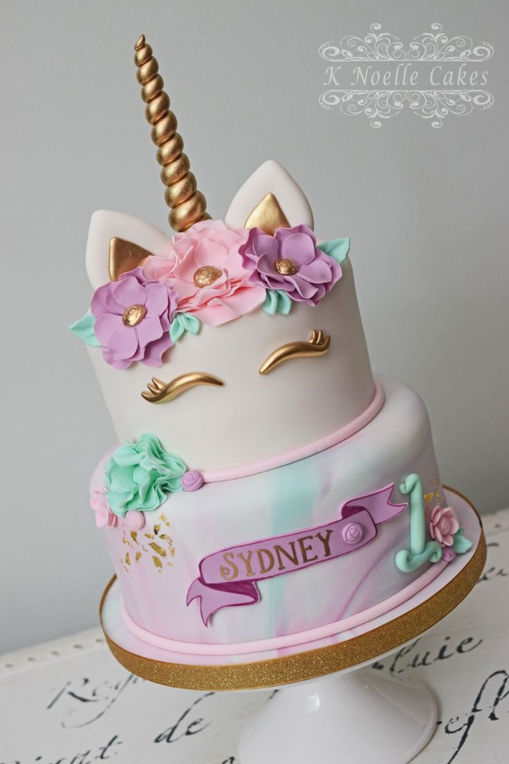 Unicorn Themed 1st Birthday Cake With Marbled Fondant And