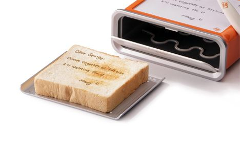 it's a toaster that toasts your handwritten message from the board on the top of the toaster into the bread.: Handwritten Messages, Toast It Note, Awesome Products, Toast Messenger, Buy, Breads, Messages Toaster, Clever, Boards