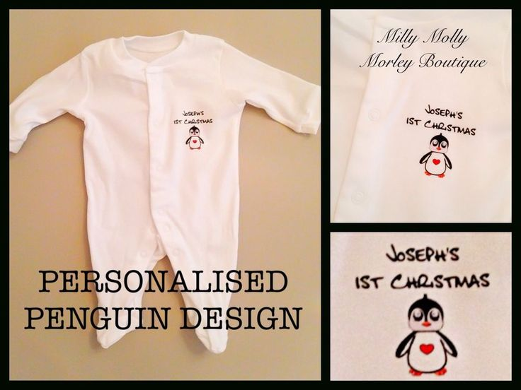 Funky PERSONALISED unisex baby 1st CHRISTMAS penguin design - NEXT DAY DESPATCH