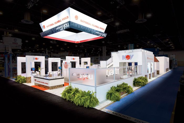 National Oilwell Varco wanted a red-carpet-themed customer appreciation experience, so the booth design by 2020 Exhibits at the Offshore Tec... Photo: Courtesy of 2020 Exhibits