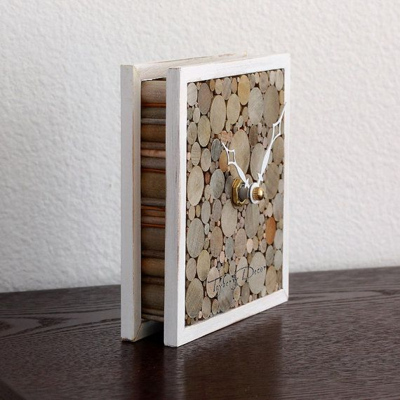 Rustic Wood Desk Clock Shabby Home Decor Small by TayberryDecor
