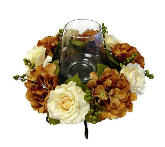Spring Centerpiece Hydrangea Rose Berry Table Easter Home Decor Wrought Iron Neutral Candle Floral Arrangement Silk Floral Arrangement