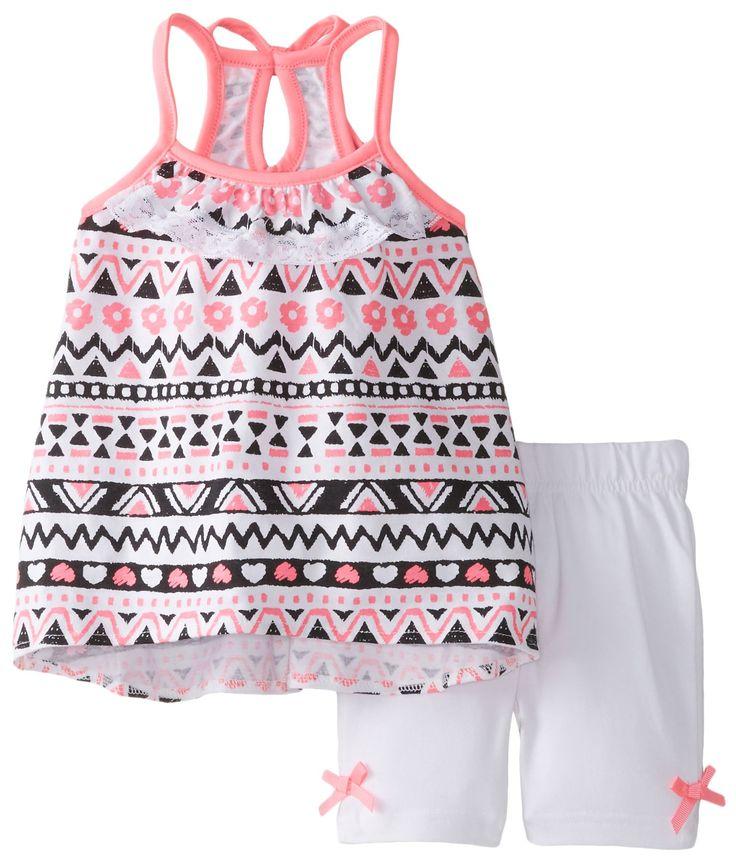 Little Lass Baby Girls' Printed Knit Keyhole Back Detail Bike Short Set, Hot Pink, 24 Months