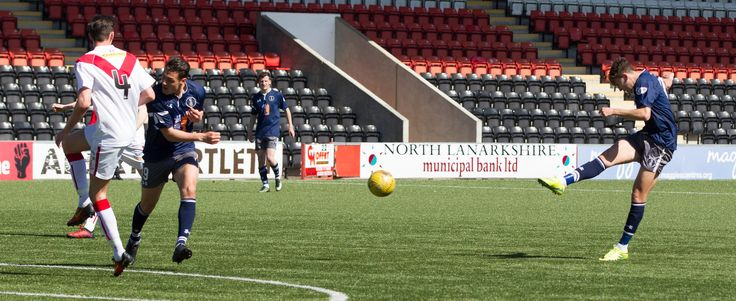 Queen's Park's Dario Zanatta scores during the Ladbrokes League One game between Airdrieonians and Queen's Park.