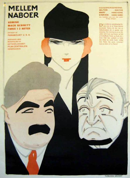 Movie poster by Sven Brasch (1886-1970), Mellem Naboer. (Swedish)