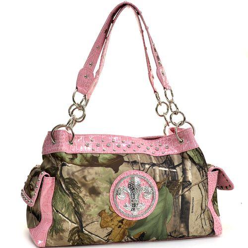 Dasein(R) Fleur de Lis Accent Shoulder Bag in Real Tree(R) Camouflage - Light Pink Q311-EM-RT1-52830A APG/LPK