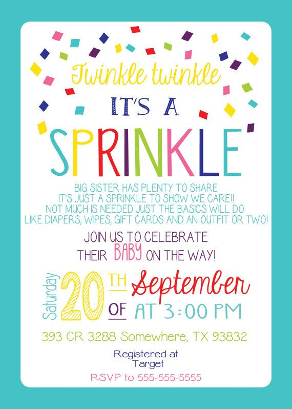 Baby Sprinkle Invitation Girl Version Any Color Couples Pink Sister
