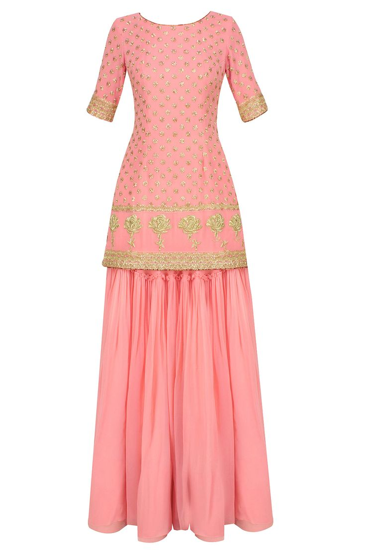 Pink floral embroidered motifs short kurta and sharara skirt set available only at Pernia's Pop Up Shop.