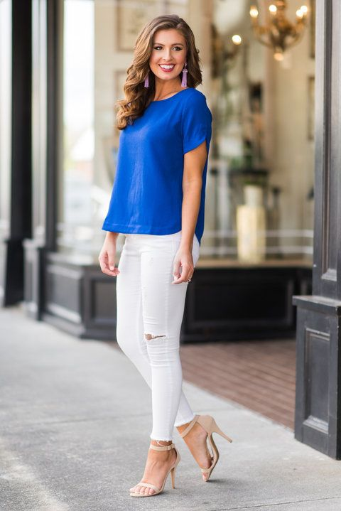 """""""Bright Where I Want Top, Royal Blue""""This cute royal blue top is exactly where we want to be! It looks great with white skinnies or shorts! #newarrival #shopthemint"""