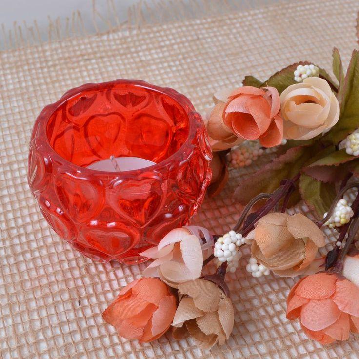 Porta-Vela Redondo Vidro Vermelho com Relevo Corações SERENATA