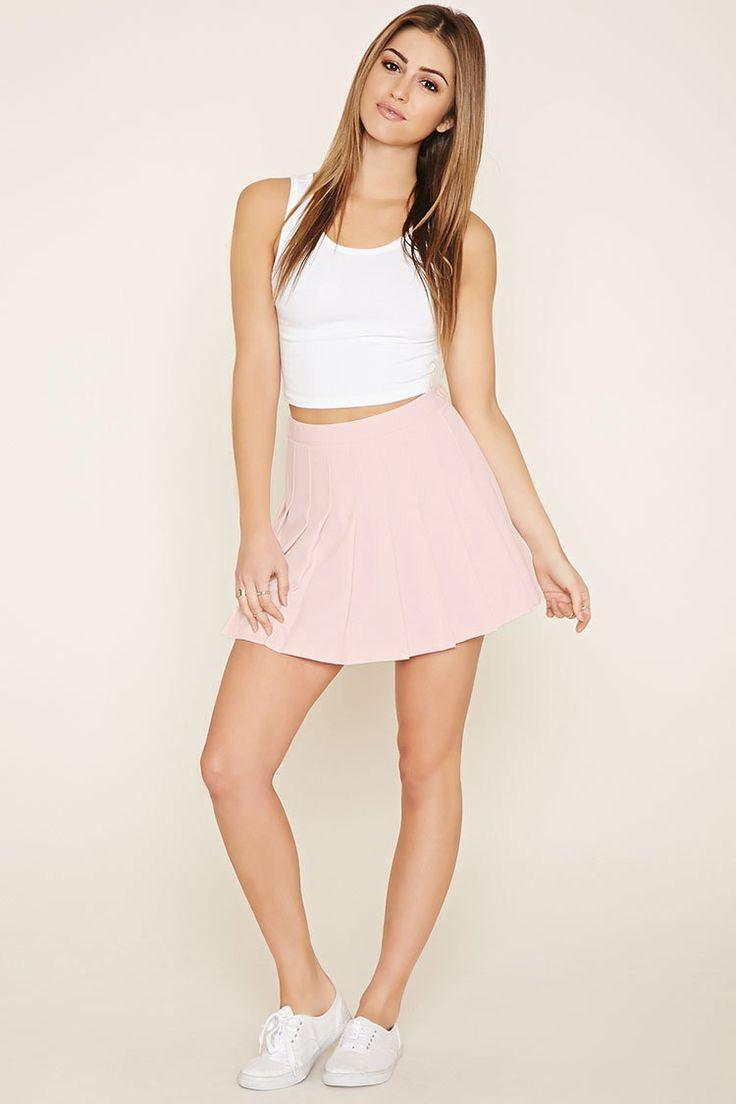 Pale pink pleated mini skirt – Fashionable skirts 2017 photo blog