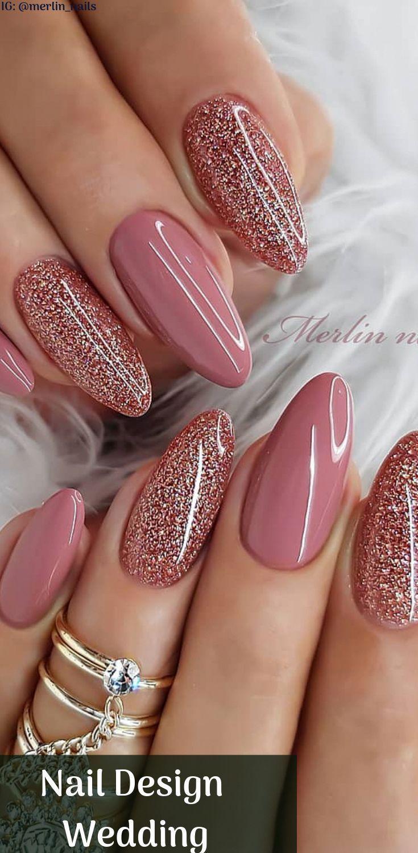 Glitzernde Nägel im Nail-Art-Design, perfekt für den Valentinstag mit schönen … – Nageldesign