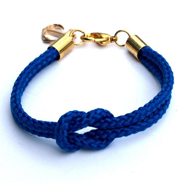 Cobalt Blue Nautical Rope Bracelet with Gold Anchor - Skipper Bracelet. $22.00, via Etsy.
