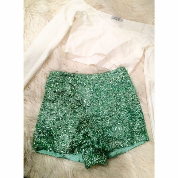 Green sequin shorts - summer sale!! Sale! Comment below with size Shorts