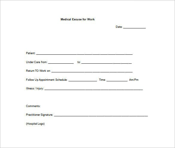 Return To Work Doctors Note Template Doctors Note Template