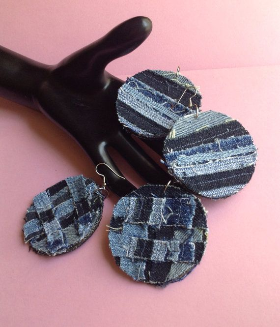 Denim Jean Fabric Earrings, handmade, patchwork denim, recycled denim / jean, two sided, made to order, made in Greece on Etsy, $18.00