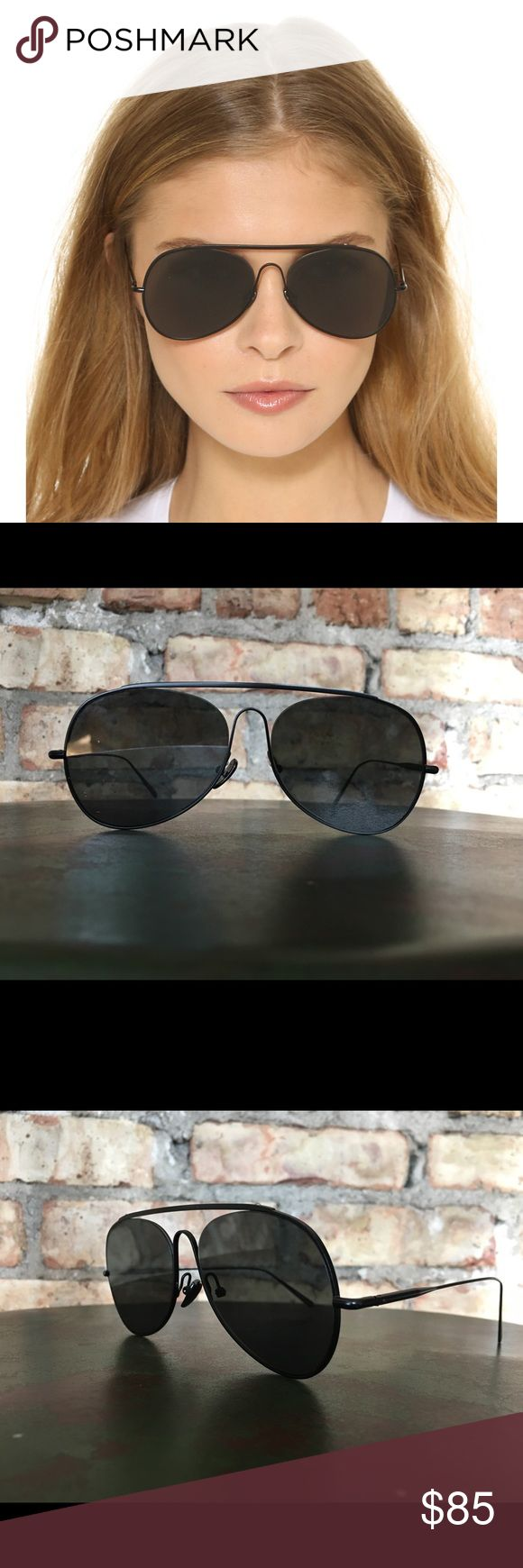 ACNE Studios Spitfire Sunglasses ACNE Studios Aviator Style Sunglasses   Black Metal Frames with Black Lenses   ACNE Logo engraved on temple   Made in France   Sleek Flat Front   Condition: Good   Minor Imperfections on Right Lense as shown in photo   Case included   Measurements: 57mm lens width   18mm bridge width   140mm temple length. Acne Accessories Sunglasses