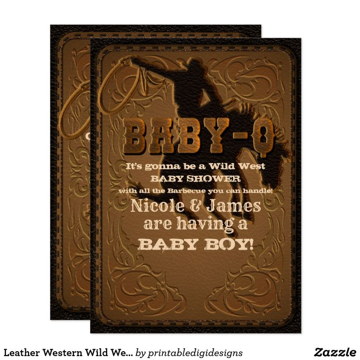 baby shower bbq invitation templates%0A Leather Western Wild West Cowboy BABYQ SHOWER BBQ Card Customize for your  event