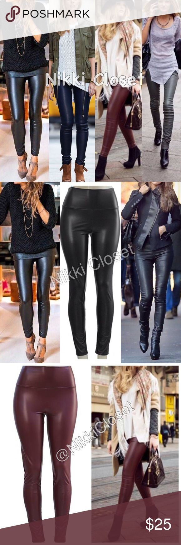 """New faux leather high waisted leather leggings Sexy Vegan Faux leather leggings. Perfect fit  High waist. Trendy. Medium weight. Lightly soft Fleece-lined. Super soft, Stretchy and comfortable. Fabric 65% Polyester,35% Cotton Measurements (Inseam = 27-28"""") (Total Length= 38-39"""") (Front Rise = 12"""") (Back Rise =14"""") (Small Waist =11-13"""") (Medium Waist =12-14"""") (LargeWaist =13-15"""") (XL Waist =14- 16 """" ) Price is firm unless bundled.‼️ AVAILABLE IN  (Wine, Navy blue, Black, Gray) SIZES(S, M, L…"""