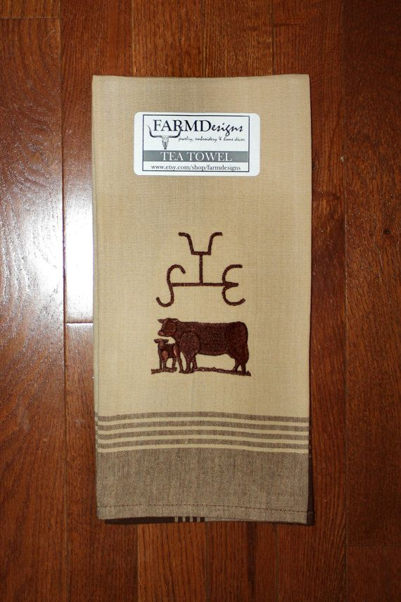 your brand tea towel personalized brand towel embroidered towel cattle brand western