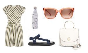 Playsuit, £42, warehouse.co.uk Sandals, £69, stories.com Waterbottle, £45 by S'well from urbanoutfitters.com Sunglasses, £128, jcrew.com Bag, £30, next.co.uk