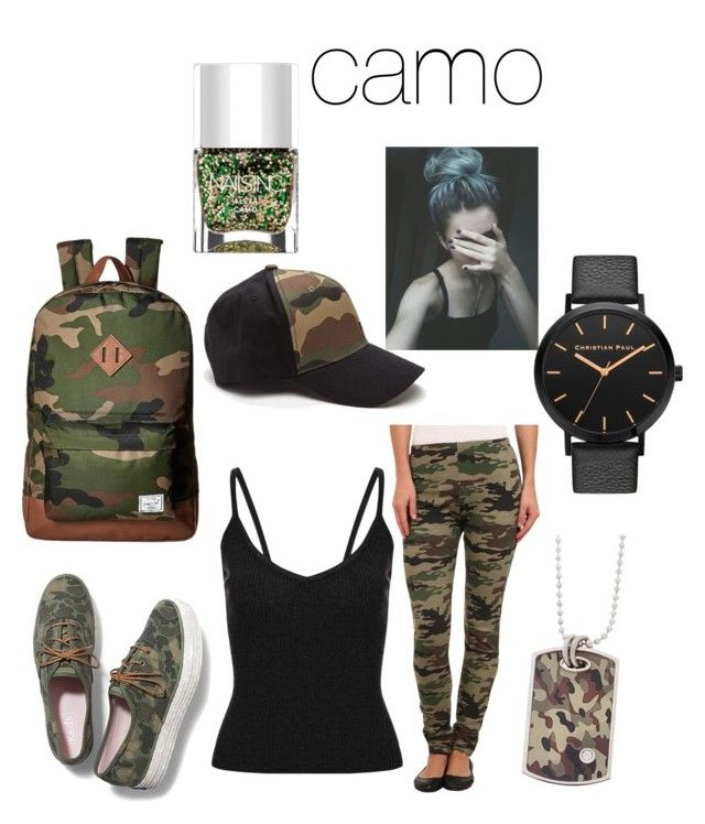 """""""cute camo outfit"""" by polarbear786 ❤ liked on Polyvore featuring Plush, Keds, Herschel Supply Co. and Nails Inc."""