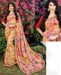 Light Coffee, Brown & Pink Color Georgette Kitty Party Sarees : Leena Collection  YF-42432