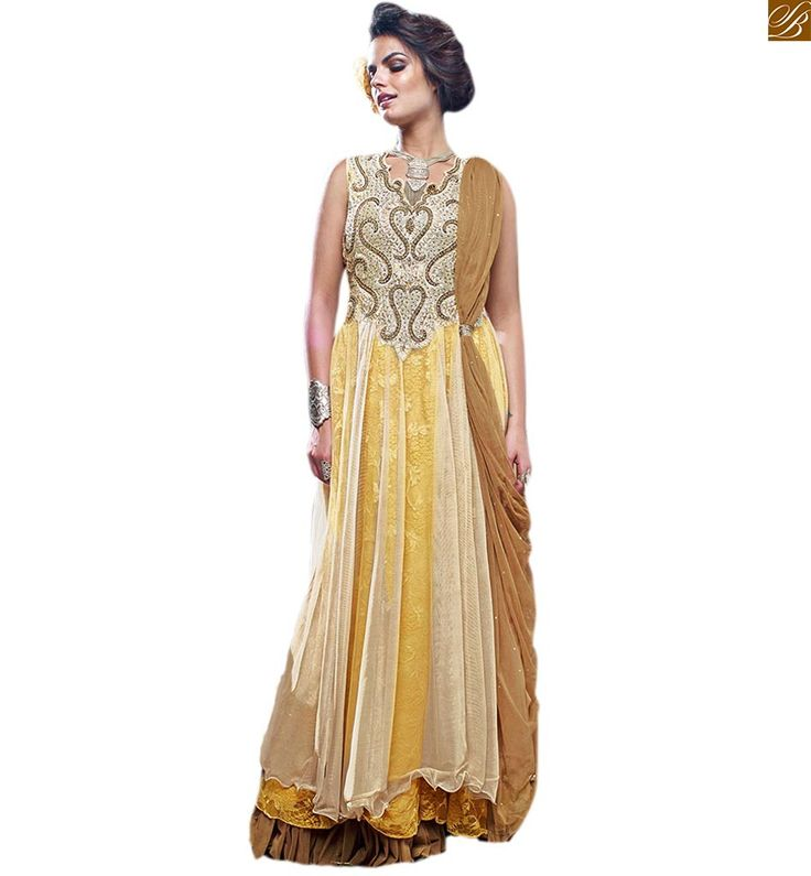 #DESIGNERGOWNS ALLURING DESIGNER GOWNS ONLINE SHOPPING STYLISH WOMEN WEAR SUITABLE FOR PARTY WEAR DRESS-UP, CREAM, YELLOW & BROWN NET BRASSO HEAVY EMBROIDERED DESIGNER GOWN, NECK BEAUTIFIED WITH COLORFUL DIAMONDS
