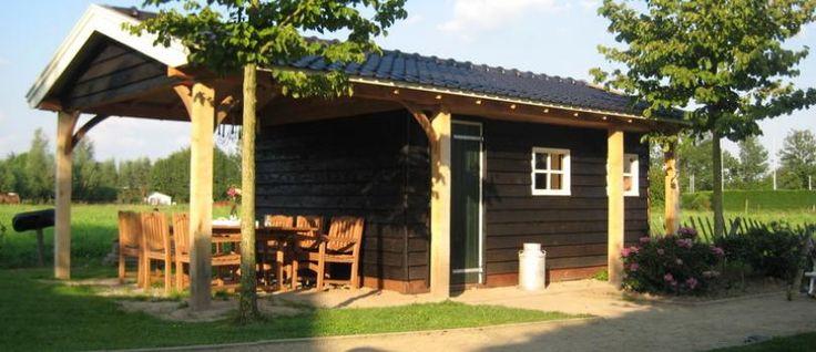 Schuur / veranda IJzendoorn - Zwarte houten schuur met pannendak en overkapping