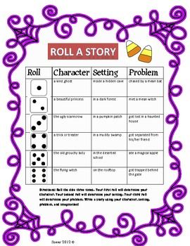 Your students will be able to roll a dice three times to determine their character, problem, and setting. They will write a story using the three elements that they rolled. It's a perfect writing center for October!