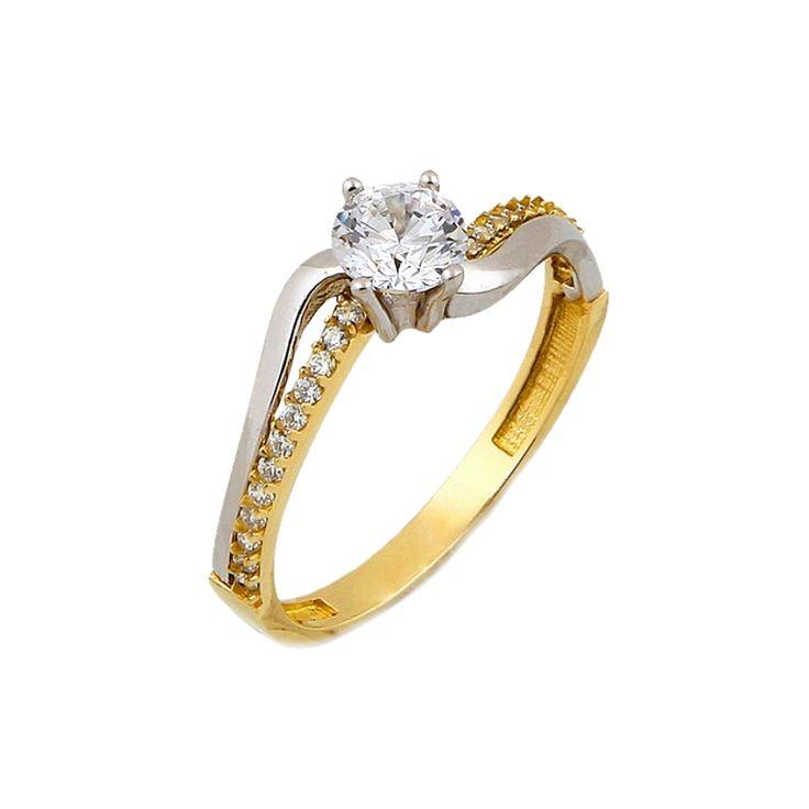 Μονόπετρο δακτυλίδι κίτρινο χρυσό Κ.14 (585°) με λευκές πέτρες ζιργκόν Swarovski® και λευκόχρυσες λεπτομέρειες.    #tasoulis_jewellery #gold #ring #k14 #μονόπετρο #δαχτυλίδι #χρυσό #αρραβώνας #engangement #swarovski