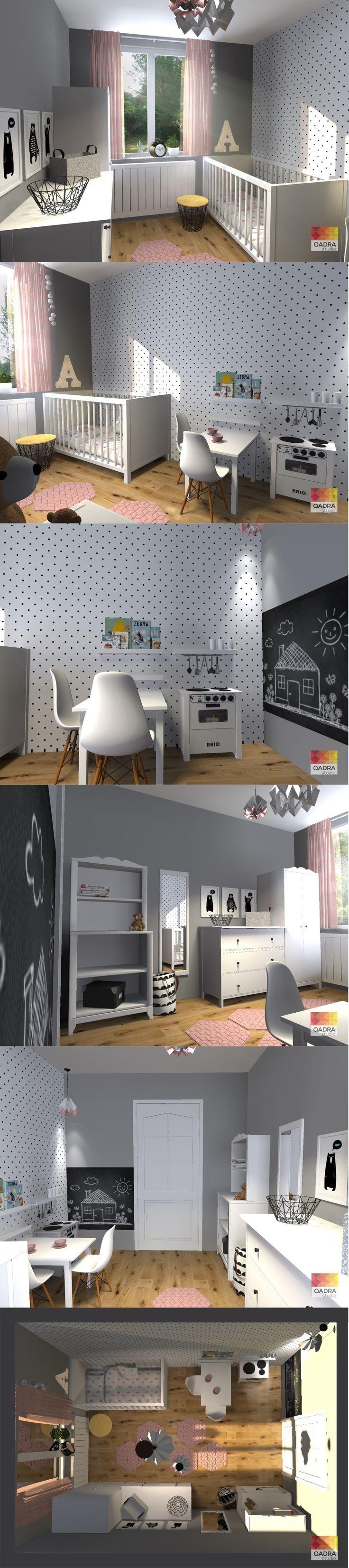 Projekt i wizualizacje: Kamila Mucha QADRA studio. www.qadrastudio.pl www.facebook.pl/qadrastudio  #pokój dla dziewczynki