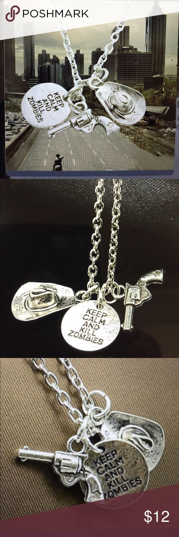 The Walking Dead Fashion Silver Necklace/New Great silver tone The Walking Dead fashion and unique necklace with Rick's handgun and hat....comes with a nice gift box The Walking Dead Jewelry Necklaces