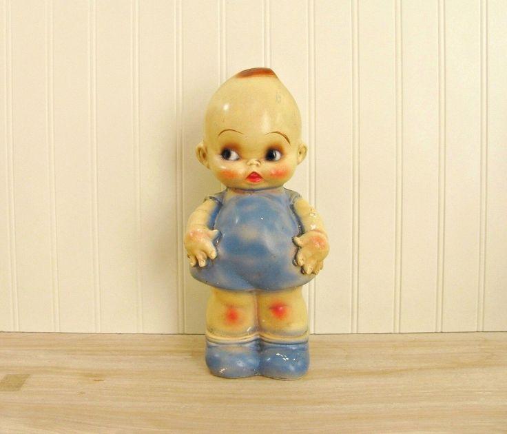 Vintage Large Carnival Chalkware Kewpie Doll in Blue Carnival Chalk Kewpie Chalkware Cupie Doll Chalkware Prize Blue Kewpie Vintage Oddities by HipCatRetroVintage on Etsy https://www.etsy.com/listing/490067333/vintage-large-carnival-chalkware-kewpie