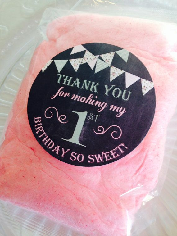 25 Personalized Shabby Chic Chalkboard Birthday Cotton Candy Favors