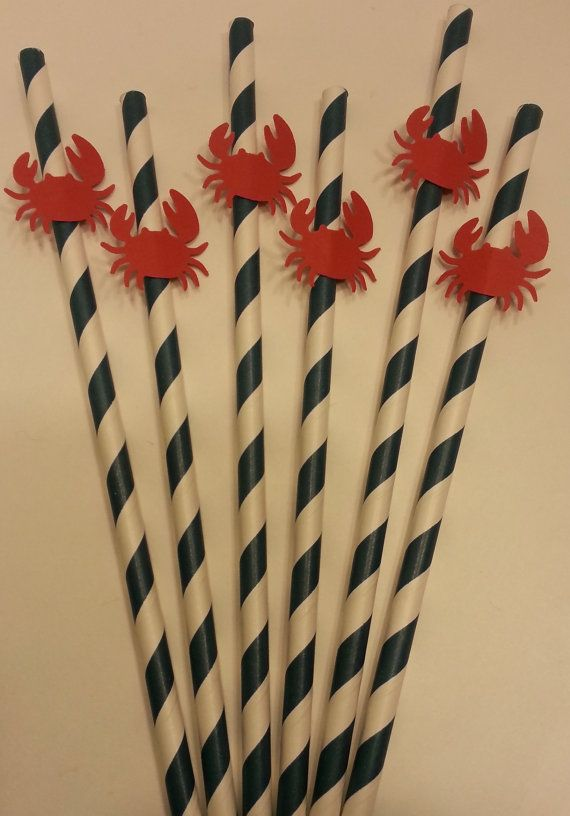 sailboat party straws | Set of 6 navy blue striped paper straws decorated with a red crab