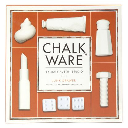 The Matt Austin Studio 'Junk Drawer' Chalk Ware Set features custom carved chalk pieces designed by artist Matt Austin. This set includes 8 uniquely themed pieces that can be utilized in both drawing & decoration. Keep cabin fever at bay!