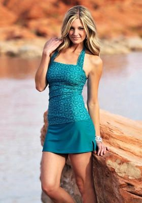 Modest Women's Swimwear  This is my favorite! With straps a little wider, skirt & shorts a little longer and oh yeah, her figure!! LOL learn to sew swim dresses at modestymatters.net