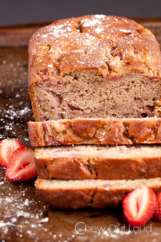Strawberry Banana Bread - moist, dense, delish. Perfect for brunch or snack. Or scoop some ice cream on top for dessert!